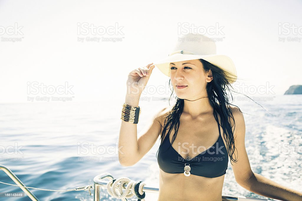 young woman on boat royalty-free stock photo