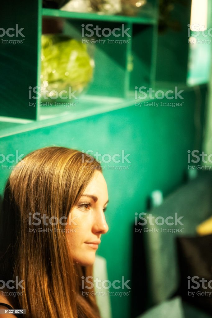 Young woman on cafe. stock photo