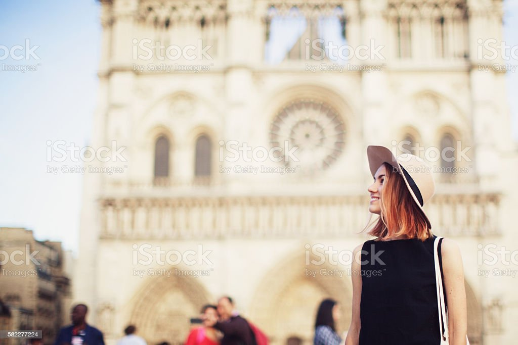 Young Woman on City Street stock photo