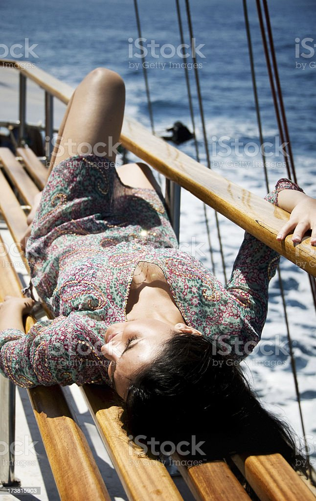 Young Woman on her Mediterranean Cruise Vacation royalty-free stock photo