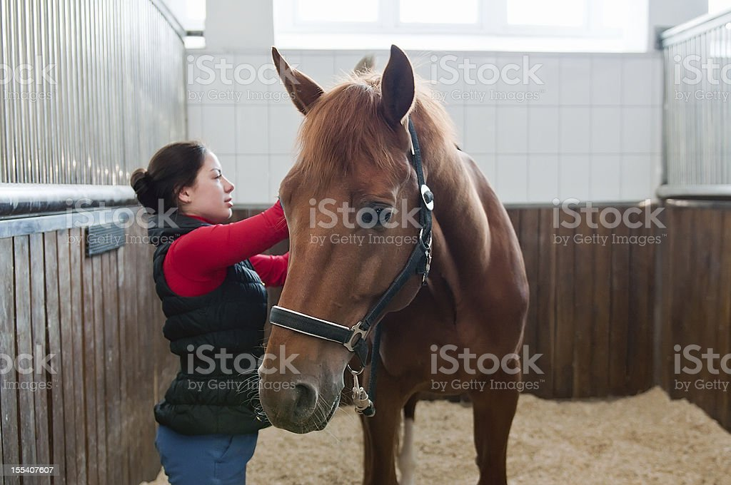 Young woman on horse ranch stock photo
