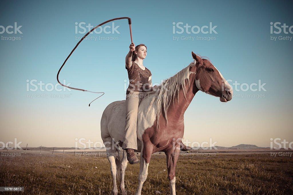 Young Woman On Horseback stock photo