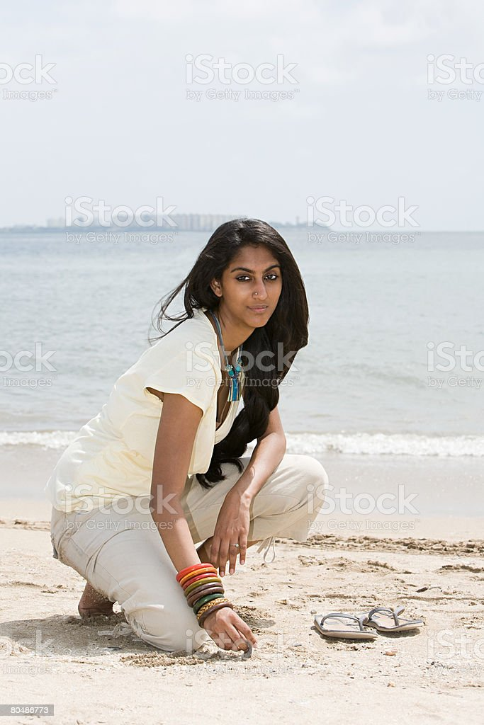 A young woman on mumbai beach royalty-free 스톡 사진