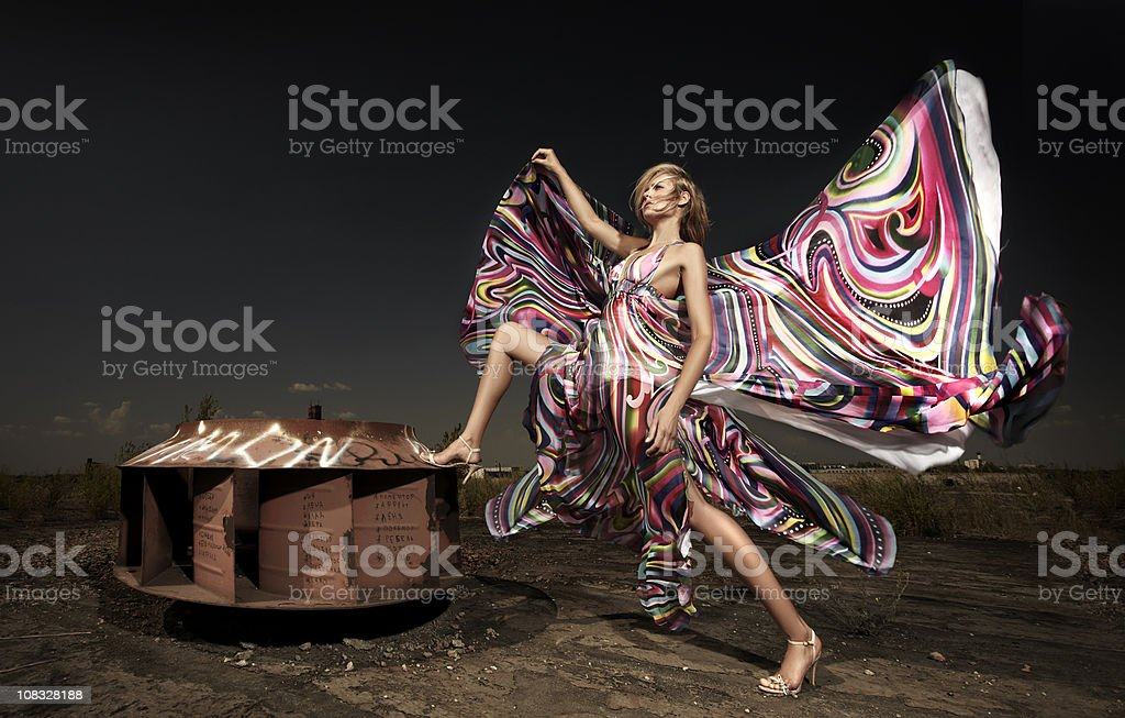 Young woman on nature stock photo