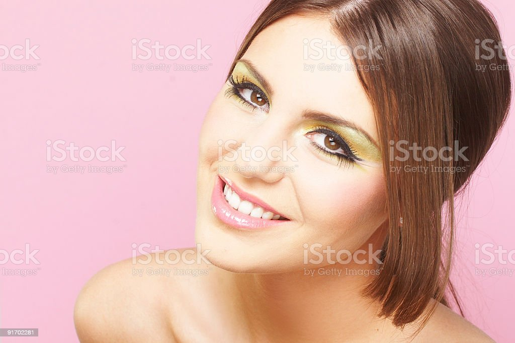Young Woman On Pink Background royalty-free stock photo