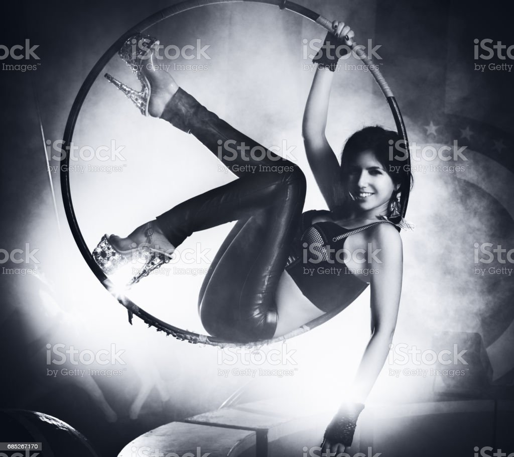 Young woman on ring stock photo