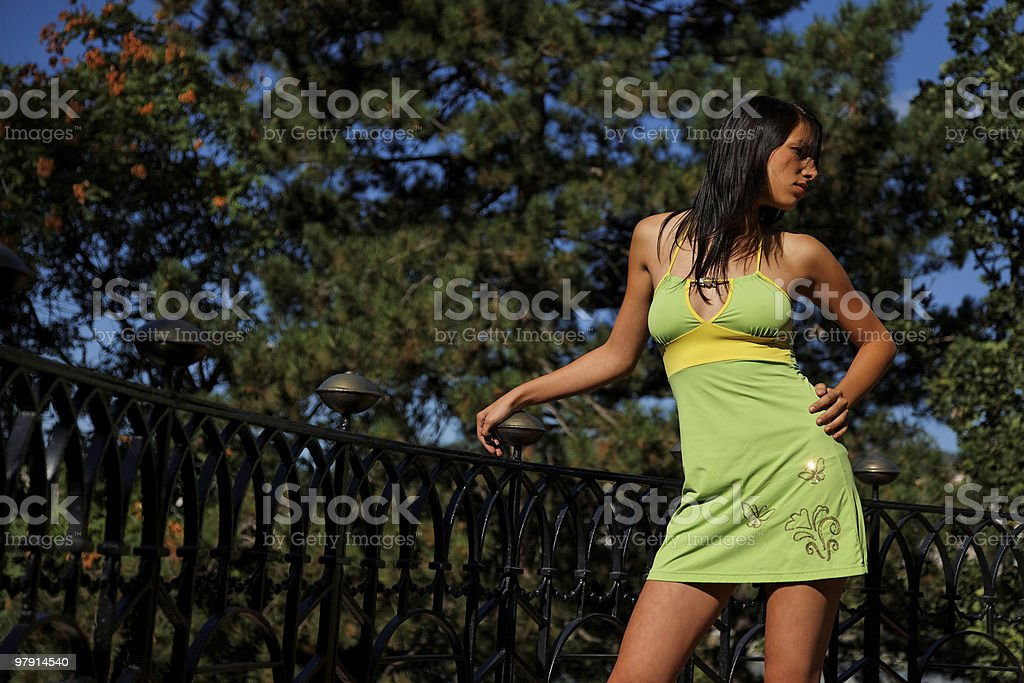 young woman on the balcony royalty-free stock photo