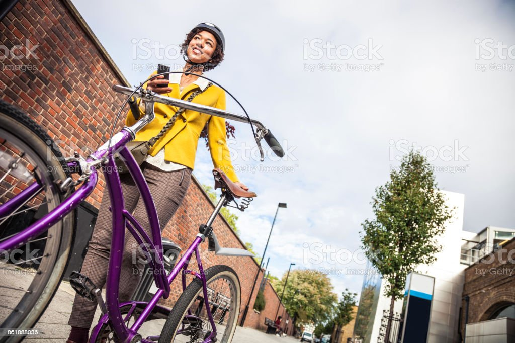 Young woman on the go stock photo
