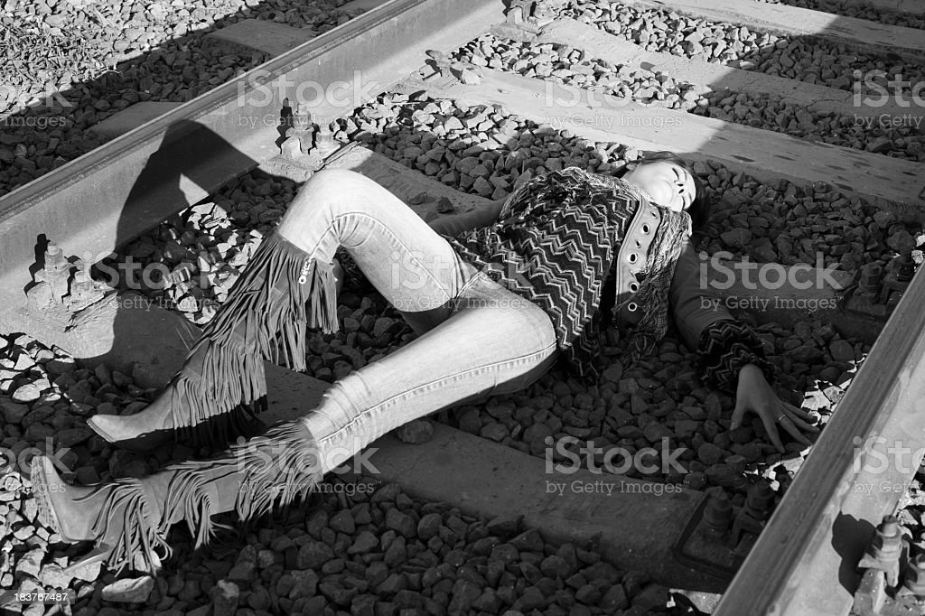 Young Woman on the Railway stock photo