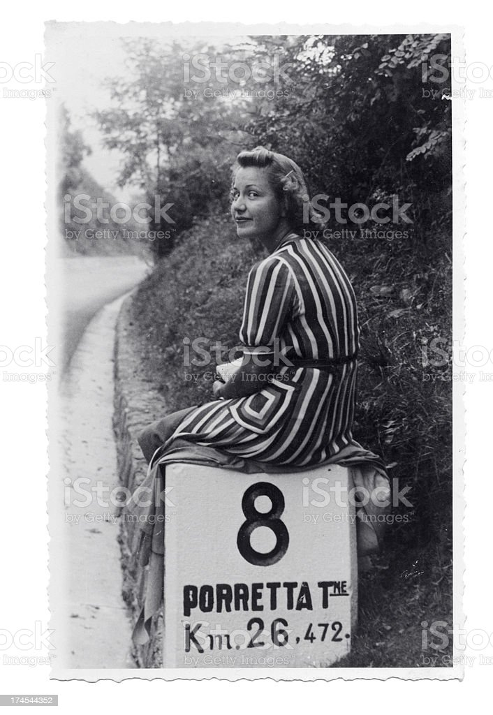 Young Woman on the Road in 1931 royalty-free stock photo