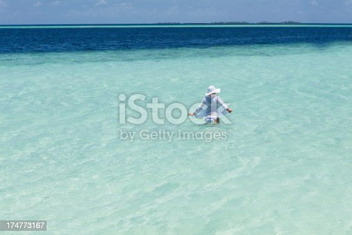 istock Young woman on the tropical beach 174773167