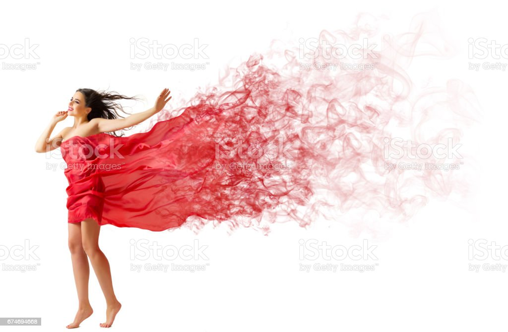 Young woman on the wind stock photo