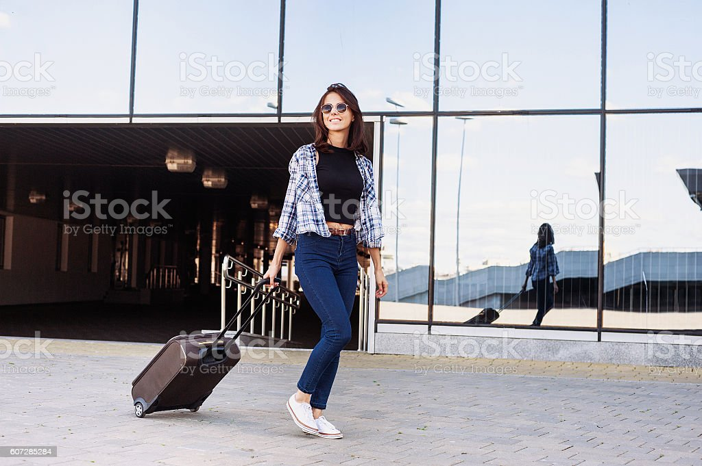 Young woman on vacations, travel concept stock photo
