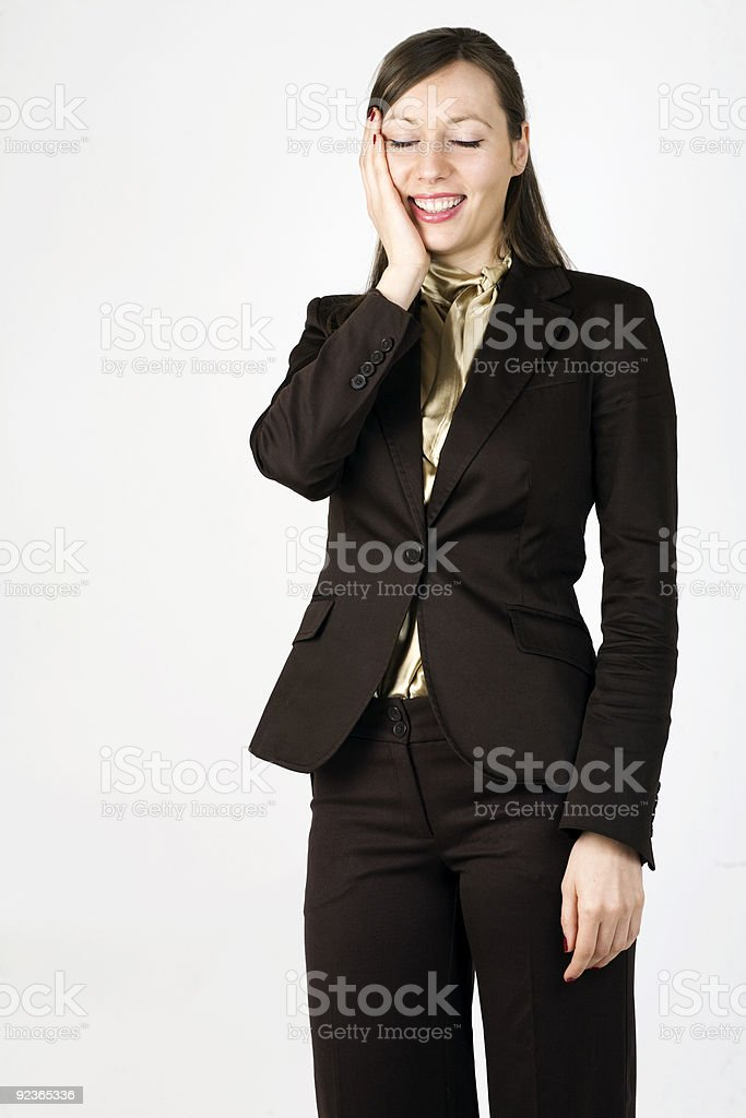Young woman on white background royalty-free stock photo