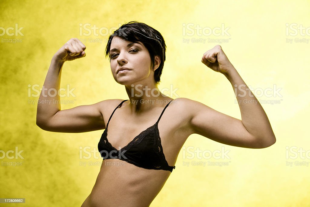 Young Woman on Yellow stock photo