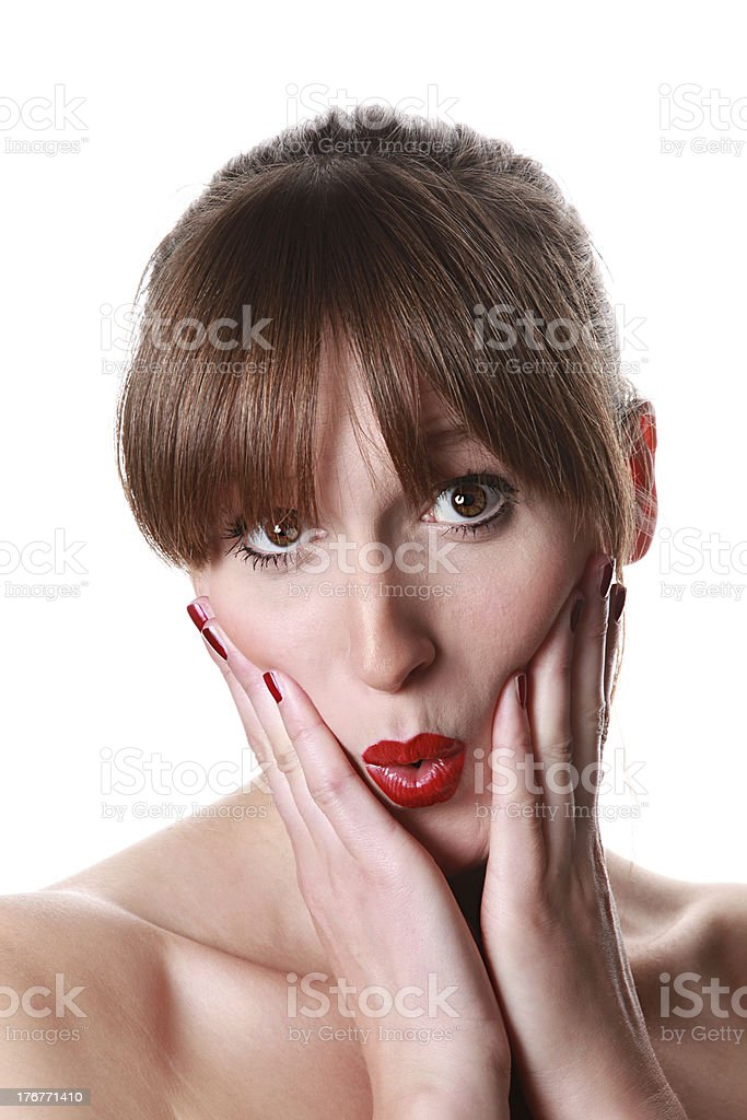 young woman / 'oops' stock photo