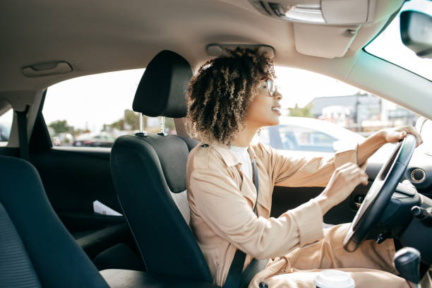 young woman outdoor - driving stock photos and pictures