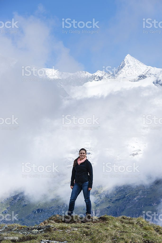 Young woman outdoors enjoying the mountains-XXXL royalty-free stock photo
