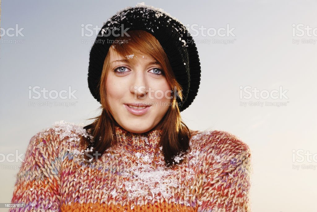 young woman outdoors in winter stock photo