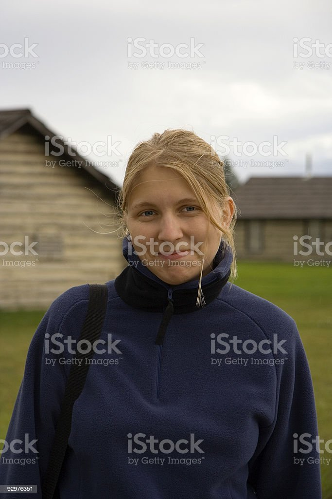 young woman outdoors stock photo