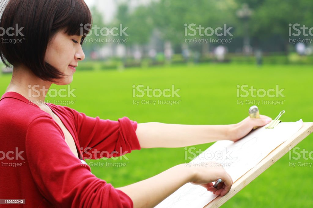 young woman painting royalty-free stock photo