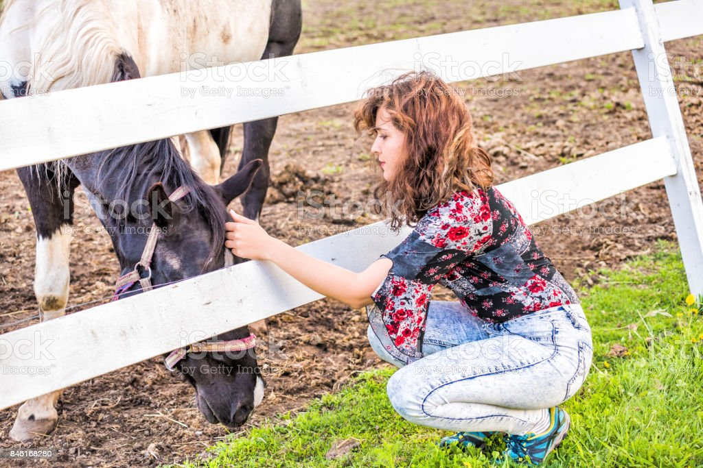 Young woman petting a black and white grazing on grass horse behind fence in countryside at dirt field pasture paddock with white wooden fence stock photo