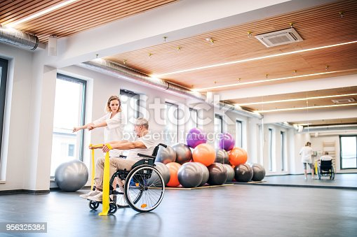 istock Young woman physiotherapist working with a senior man in wheelchair. 956325384