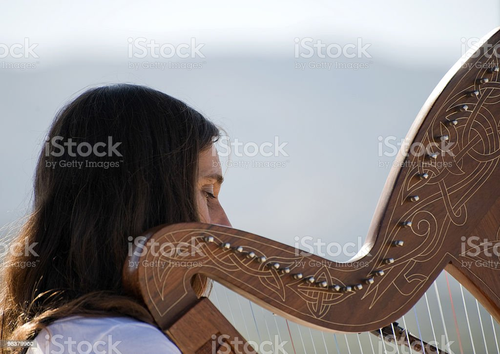 Young woman playing a harp royalty-free stock photo