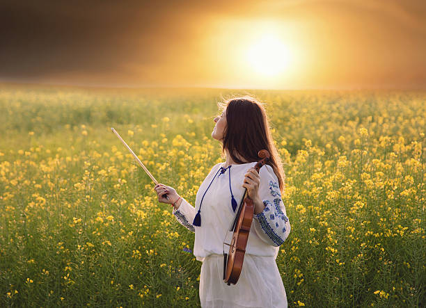 Young woman playing violin in a field at sunset stock photo