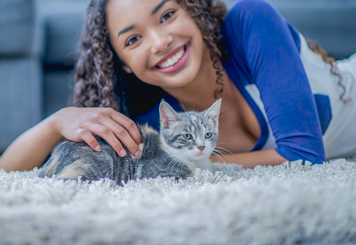 Young woman playing with a kitten
