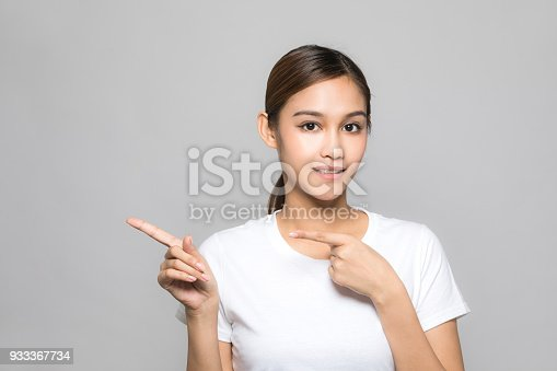 933380808istockphoto Young woman pointing at blank space. 933367734