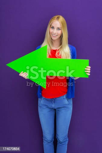 168589045istockphoto Young woman pointing with a green arrow 174070834