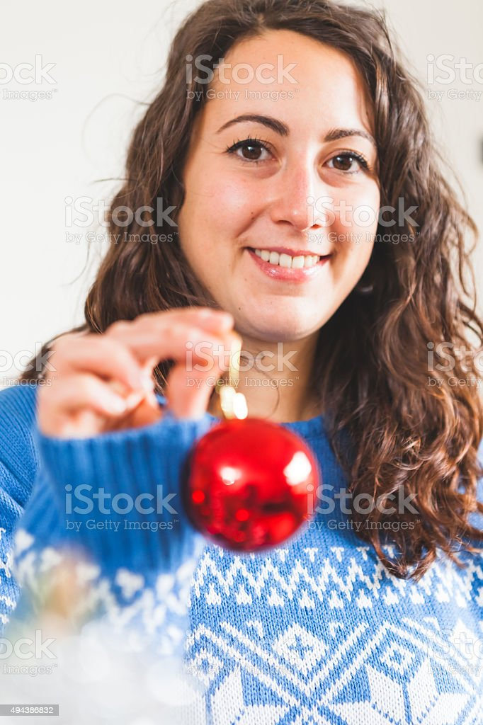 Young Woman Portrait at Christmas stock photo