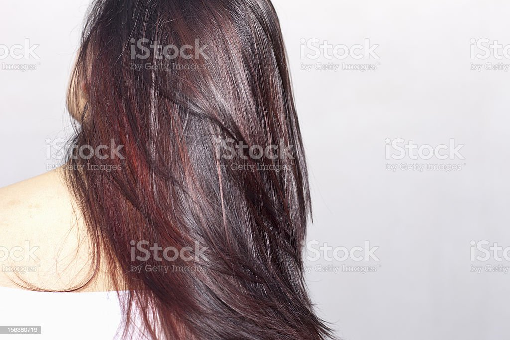 Young woman portrait, back view of long hair stock photo