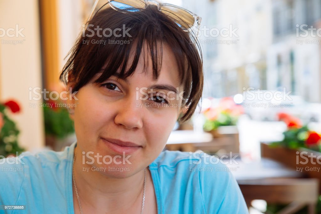 young woman portrait close up stock photo