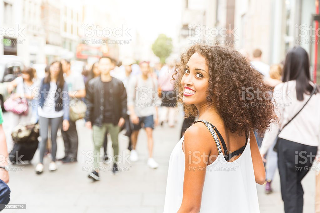 Young woman portrait in London stock photo