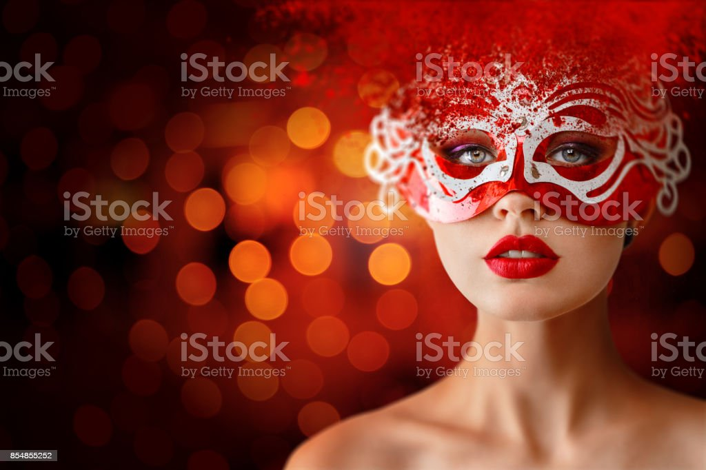 Young woman portrait in night city stock photo