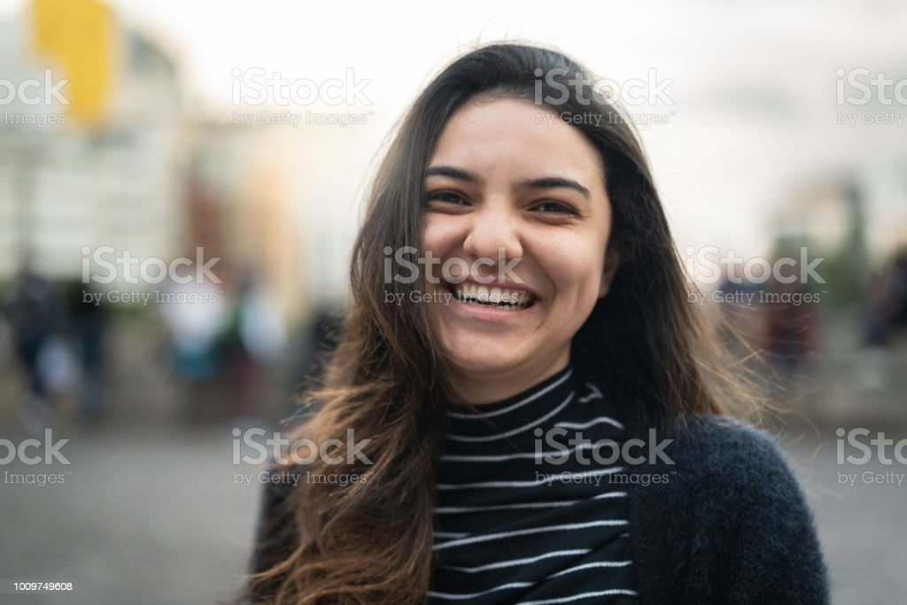 Young Woman Portrait in the City stock photo