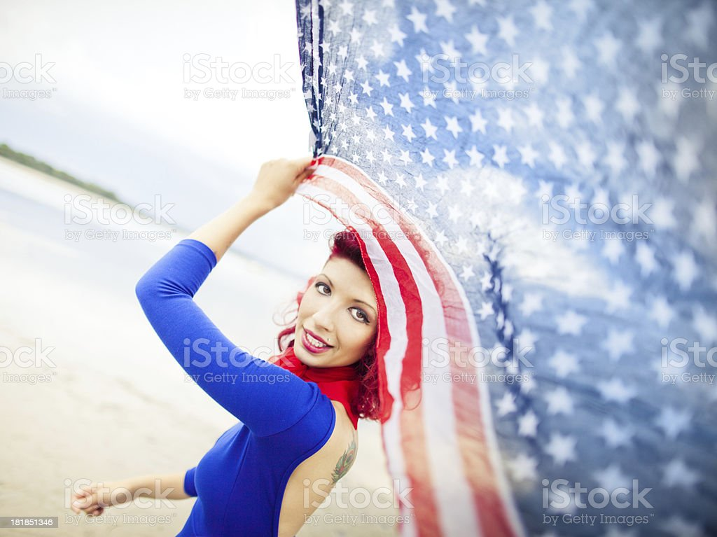 Young woman portrait on the beach stock photo