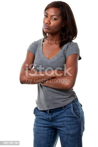 Portrait of a young woman on a white background. http://s3.amazonaws.com/drbimages/m/shajoh.jpg