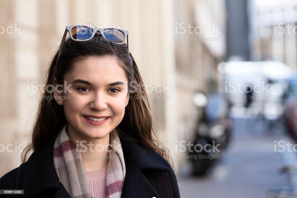 Young woman, portrait, street, Paris stock photo