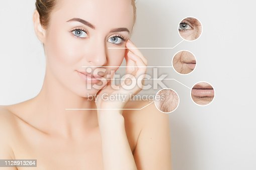istock young woman portrait with collage of skin problems closeups 1128913264