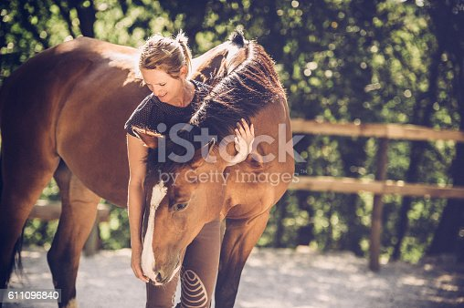 Young Woman Portrait with Her Horse outdoors