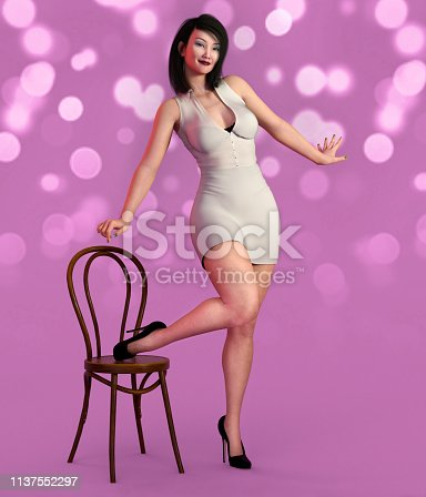 1137329370istockphoto Young woman posing in casual clothes with a chair 1137552297