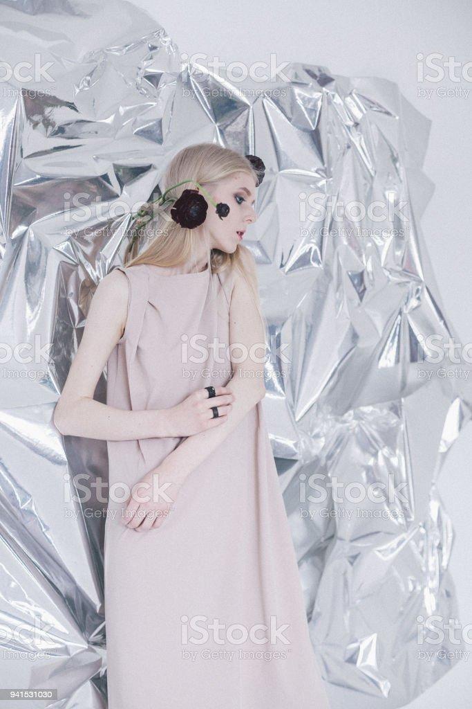 Young woman posing in studio stock photo