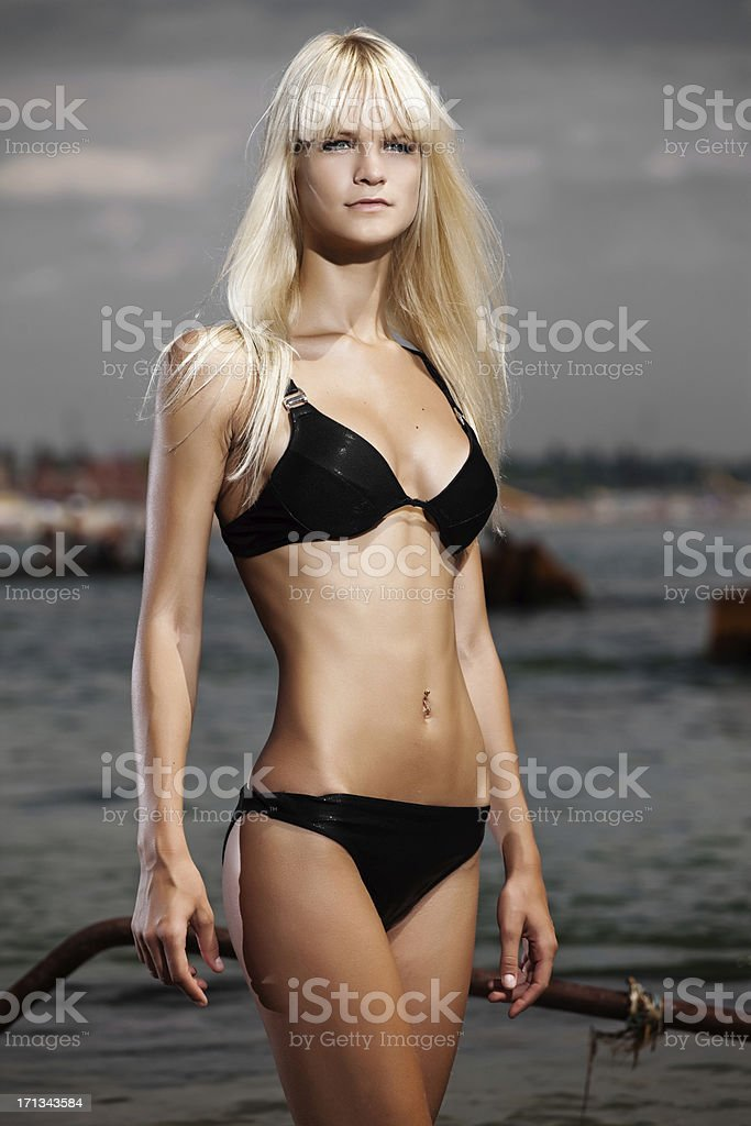 Young Woman Posing On Beach royalty-free stock photo