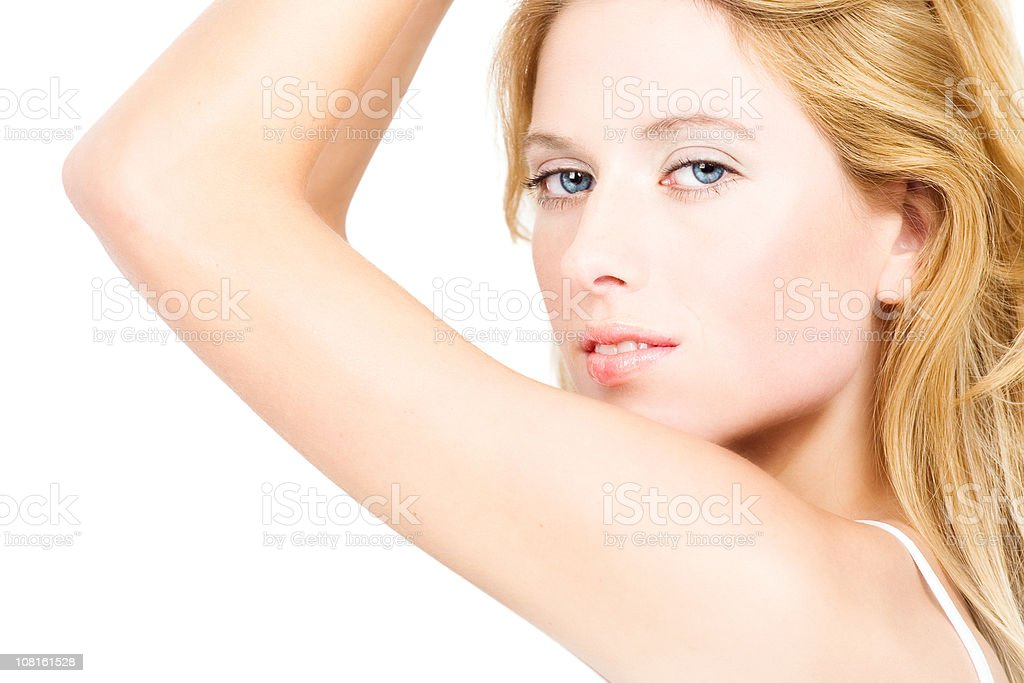 Young Woman Posing on White Background royalty-free stock photo