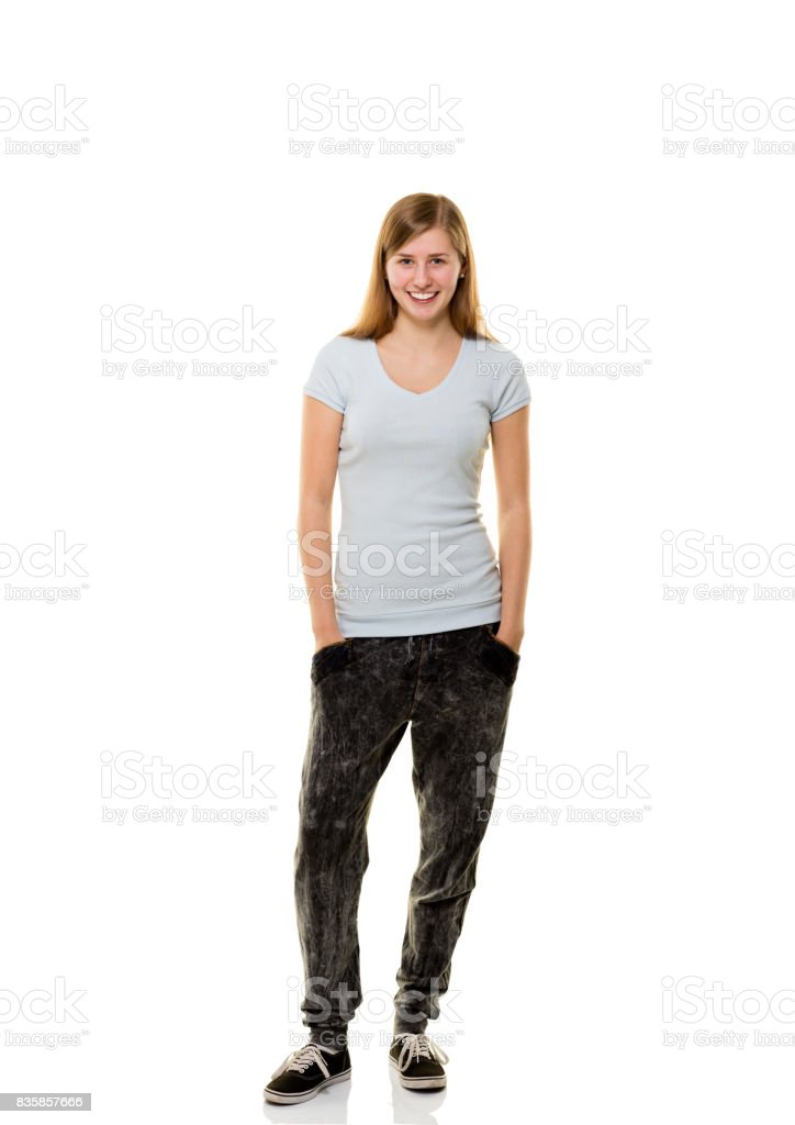 Young woman posing on white background. stock photo