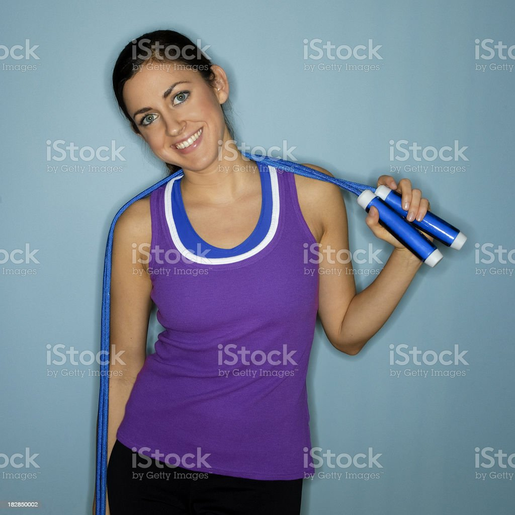 Young Woman Posing With a Jump Rope royalty-free stock photo