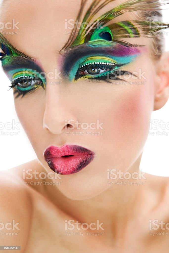 Young Woman Posing With Peacock Feather Makeup On Eyebrows Stock
